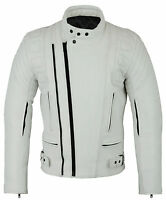 CE ARMOURED White Leather Motorcycle Motorbike Racing Jacket XS - 5XL