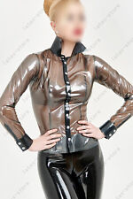 243 Latex Rubber Gummi Shirts Blouses Tops point collar catsuit customized 0.4mm