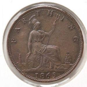 1865 Farthing - Great Britain - AU/UNC
