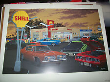 Fish Food  Dave Snyder Car Art Print  Classic.. Hell Cat   Cuda Hemi AAR