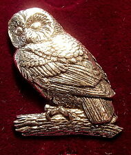 SUPERB Pewter Owl Brooch Pin Craftsman Signed