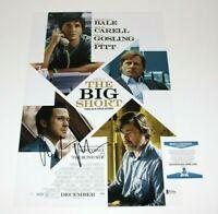 ACTOR CHRISTIAN BALE SIGNED 'THE BIG SHORT' 12x18 MOVIE POSTER BECKETT COA BAS