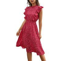 Summer Polka Dot Print Dress Female Casual Butterfly Sleeve Ruffled Mid-Len S5M6
