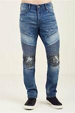 True Religion Mens Rocco Moto Slim $329  Jean Studded Size 34X34 MDAA90424J