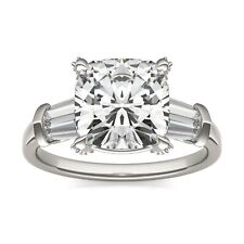 2.00CT Cushion Forever One Moissanite Three Stone Engagement Ring 14K White Gold