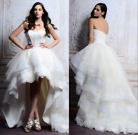 Sweet High Low Beach Wedding Dress White/ivory Tulle Lace Bridal Gown Size 4 6++