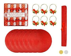 21pc Christmas Set Gold Siver Napkin Ring Table Runner Saucer Crackers Placemats