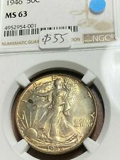 1946 Walking Liberty 50c NGC MS63 Light Gold Tone Below Greysheet CHN