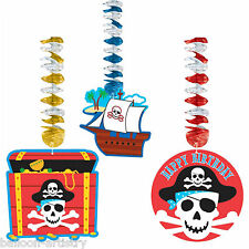 3 Pirate Party Red Stripe Chest Ship Hanging Dangling Foil Cutout Decorations