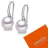 9mm AAA Perlen Ohranhänger Zuchtperlen weiß aus echt 925 Sterlingsilber + Beutel