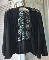 NEW  Plus 3X 2X Black Lace Silver Sequin Formal Boho Dressy Cardigan Top Jacket