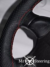 FOR OPEL MANTA A 70-75 PERFORATED LEATHER STEERING WHEEL COVER RED DOUBLE STITCH