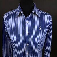 Ralph Lauren Womens Shirt Blouse Size 8 Long Sleeve Blue Regular Fit Striped
