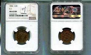 1856 BRAIDED HAIR HALF CENT TYPE COIN NGC MS63 BROWN 8958P