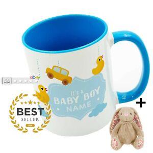Personalised NEW BABY BOY MUG baby Keepsake mugs perfect gifts HANDMADE + Bunny