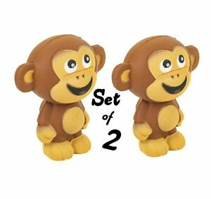 """(Set Of 2) Brown 4"""" Squish Monkey Spongy Texture Squishy Toy Party Decoration"""