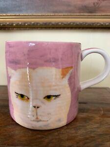 New Anthropologie Carole Akins Cat Mug Lrg Size Mug Fun Cat Mug Gift