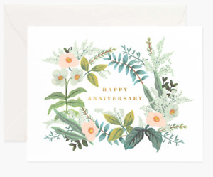 """RIFLE PAPER CO. Greeting Card & Envelope - """"ANNIVERSARY BOUQUET"""" Gold (Blank A2)"""
