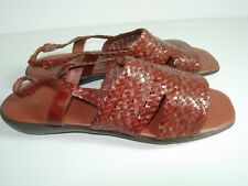 WOMENS BROWN RUST WOVEN LEATHER SLINGBACK SANDALS COMFORT FLATS SHOES SIZE 7 M
