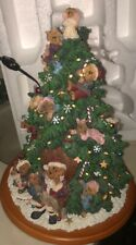Boyds Bears Lighted Resin Christmas Tree Danbury Mint w. Original Box Works!