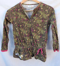 LE COMPAGNIE DES PETITS 10A brown& green FLORAL cotton long-sleeved BLOUSE