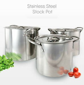 Stainless Steel Deep Stock Cooking Pot With Lid Cater Stew Casserole Boiling