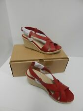 455c99a94312 Women s Lands End Mid Wedge Heel Sandals Leather Straps Red Size 7