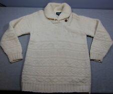 Woman's Ralph Lauren Handknit Ivory Winter 100% Sweater Small Shawl Collar