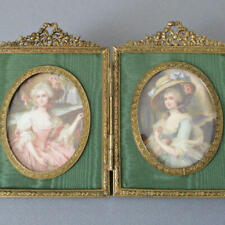 Antique GILT Ormolu DOUBLE Frame Crowned w BOWS + Flowers * Miniature Portraits