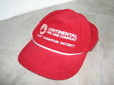 Vintage CONTINENTAL OIL GAS DRILL PIPING Rocky Mt Red Corduroy Dad Hat Cap USED