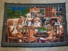 """Vintage Tapestry Dogs Playing Poker Wall Hanging 56""""x40"""" For The Man Cave"""