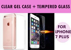 For Apple iPhone 7 Plus Clear Gel Case and Tempered Glass Screen Protector