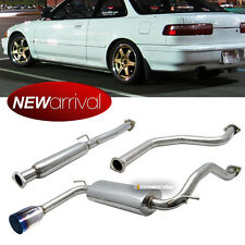 "Fit 90-93 Integra 2DR JDM 4"" Burnt Tip Stainless Full Catback Exhaust System"