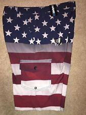 NWT Mens TONY HAWK Patriotic Swimsuit/Board Shorts, Red/Gray/Blue Size 29, $44