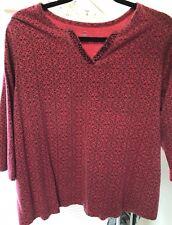 Bobbie Brooks Woman's XL..Red ...3/4 Sleeves... Black Bead Embellishments