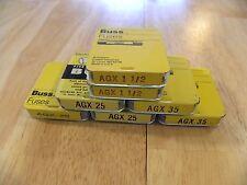 Cooper Bussmann AGX-1 1/2 20 25 35 New Old Storage Fuse Box 35 Pieces