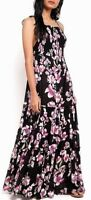 Free People Garden Party Maxi Dress Tiered Floral Onyx Black Pink Boho OB580623