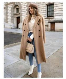 Zara Faux Fur Mantel Coat beige Kunstfell Blogger S M 36  neu mit Etikett Jacke