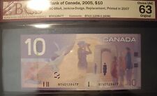 Canada 2007 BC-68aA $10 Replacement Note BTV0128477 - BCS ChUnc-63