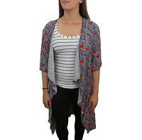 LuLaRoe Lindsay Shawl Kimono Small Aztec Tribal Blue Red Pink Open Front Sheer