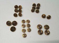 Vintage Lot 28 Gold Metal Buttons Lion Crest Design Floral Shank and Flat  2056