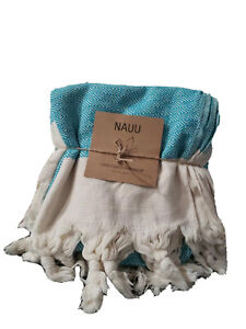 Nauu Boho Turkish Cotton  Tweight Towel Blue