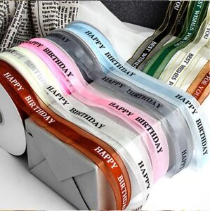 """Shimmering Organza Satin Ribbon 25mm """"Happy Birthday"""" 3Y Gift Wrapping Cakes"""