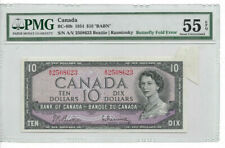 ERROR Bank of Canada 1954 $10 Butterfly Fold RARE ERROR PMG AU55 EPQ