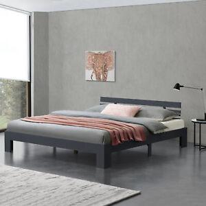 B-WARE Holzbett 180x200cm Bettgestell Bett Doppelbett Kiefer Ehebett Grau