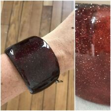 Vintage Gucci Vintage Plum Lucite Glitter  Cuff Bracelet Collectible. Beautiful!