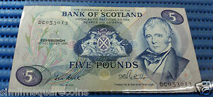 1985 Bank of Scotland Five (5) Pounds DC 053013 Circulated Banknote Currency