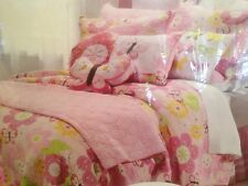 CHLOE TWIN 3PC QUILT SHAM DECO SET FLORAL BUTTERFLY DOT PINK YELLOW LIME BLUE