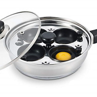 Nonstick 4 Egg Poaching Cups Stainless Steel Poacher Pan FDA Certified Food G...