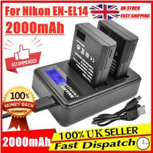 2X 2000mAh EN-EL14 Battery + LCD Dual Charger For Nikon D3100 D3200 D5200 D5300
